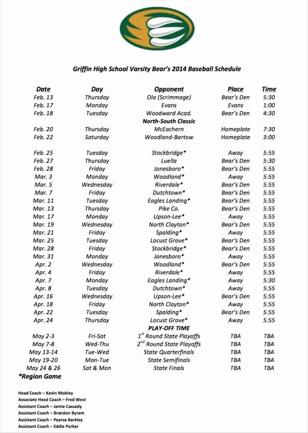High School Schedule Template Elegant Free 13 Game Schedule Samples