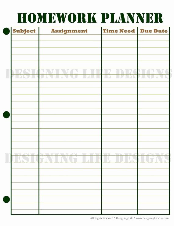 High School Schedule Template Fresh This is A Free Weekly Homework Sheet Template to Help Keep