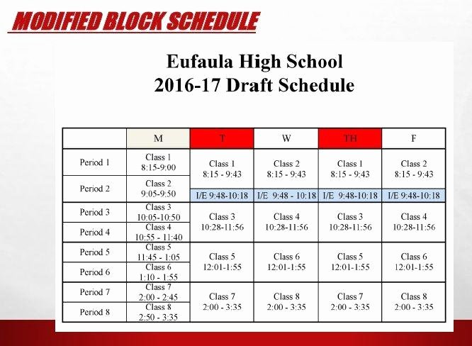 High School Schedule Template New Eufaula High School Administrators Push for Modified Block