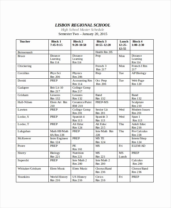 High School Schedule Template New Master Schedule Template 8 Free Word Pdf Pages