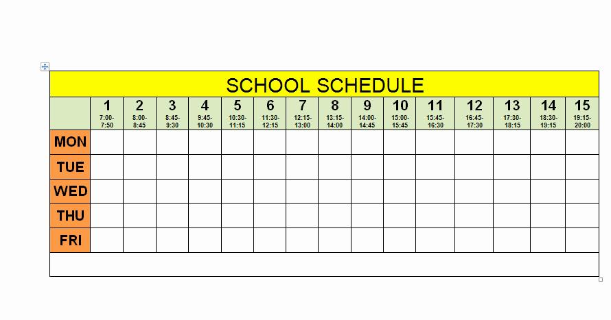 High School Schedule Template New Schedule for School Printable Template School Schedule 3