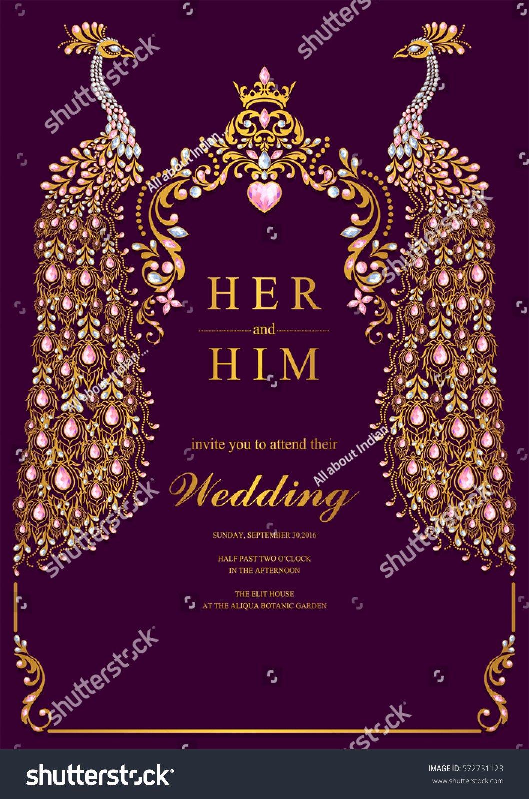 Hindu Wedding Invitation Template Awesome Indian Wedding Invitation Card Templates Gold Stock Vector