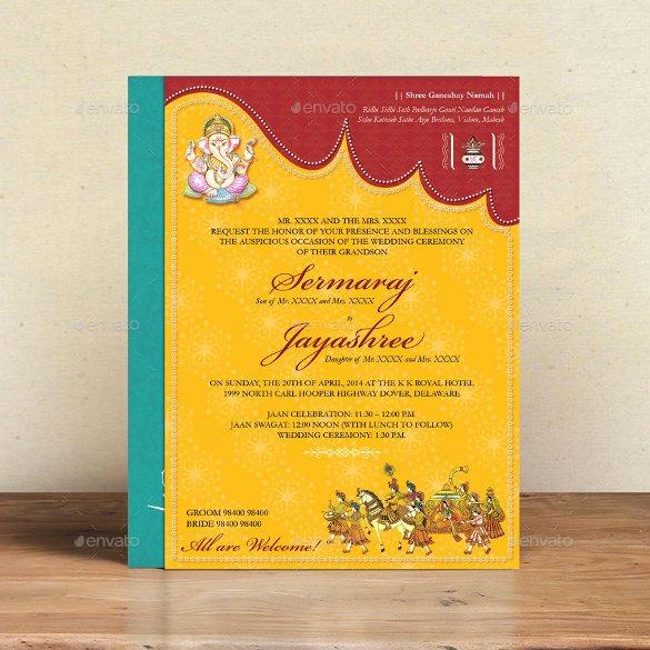 Hindu Wedding Invitation Template Beautiful 35 Traditional Wedding Invitations Psd