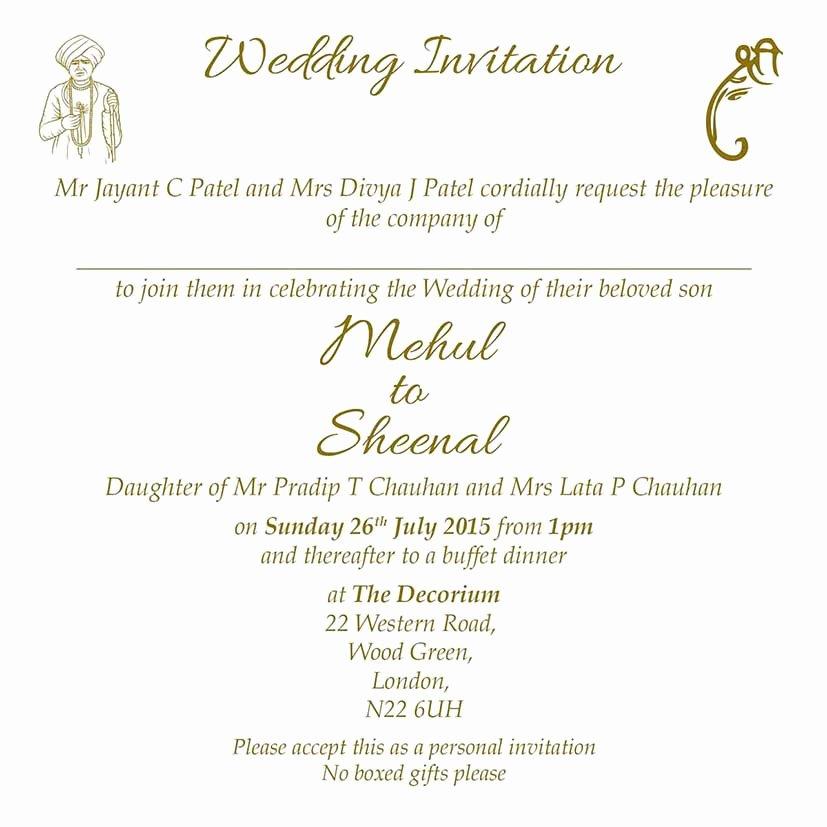 Hindu Wedding Invitation Template Elegant Hindu Wedding Invitation Wordings Here to View Our