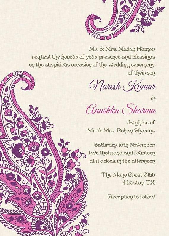Hindu Wedding Invitation Template Lovely Indian Wedding Invitation Wording Template