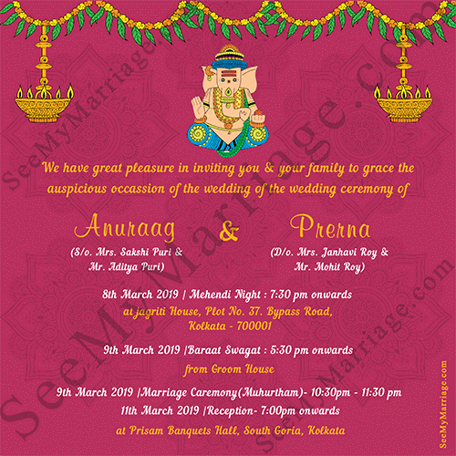 Hindu Wedding Invitation Template Luxury Pink theme Ganesha Style with Floral Decorated Traditional