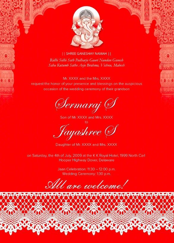 Hindu Wedding Invitation Template New 35 Traditional Wedding Invitations Psd