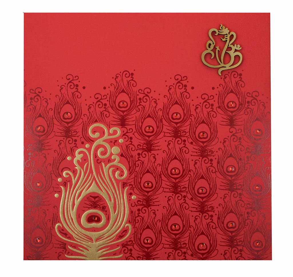 Hindu Wedding Invitation Template New Hindu Marriage Invitation Card In Red and Golden Peacock