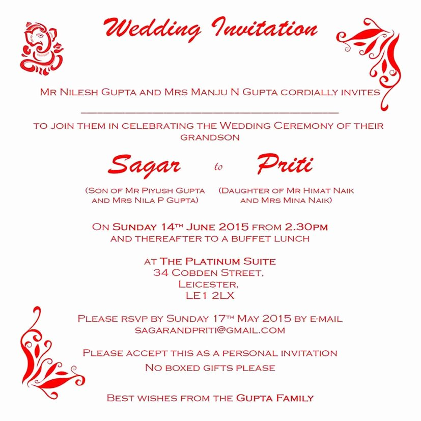 Hindu Wedding Invitation Template Unique Hindu Wedding Invitation Wordings Here to View Our