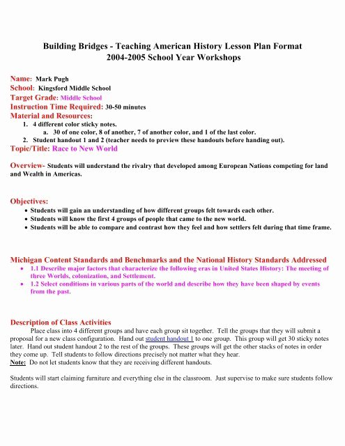 History Lesson Plan Template Beautiful Building Bridges Teaching American History Lesson Plan