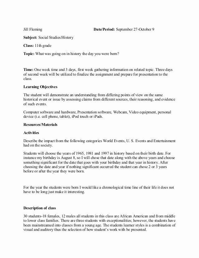 History Lesson Plan Template Beautiful Lesson Plan social Stu S History