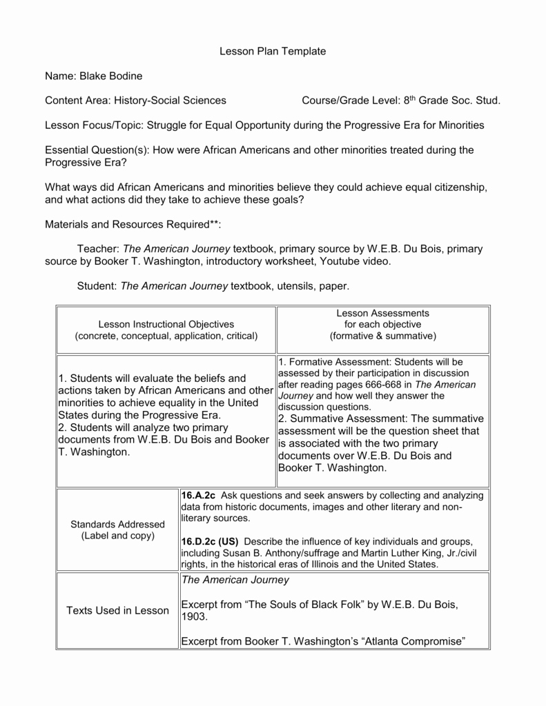 History Lesson Plan Template New Lesson Plan Template