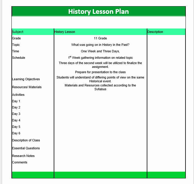 History Lesson Plan Template Unique History Lesson Plan Template – Word Templates for Free