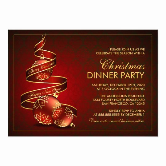 Holiday Dinner Invitation Template Awesome Elegant Christmas Dinner Party Invitation Template