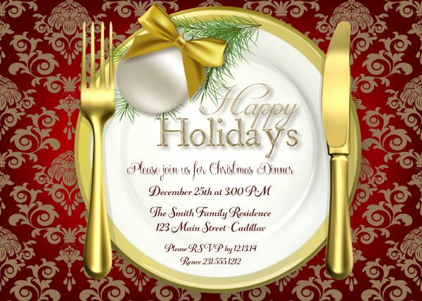 Holiday Dinner Invitation Template Beautiful 8 Holiday Dinner Invitations Jpg Vector Eps Ai