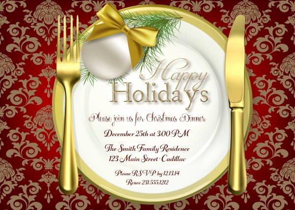 Holiday Dinner Invitation Template Beautiful 8 Holiday Dinner Invitations Jpg Vector Eps Ai
