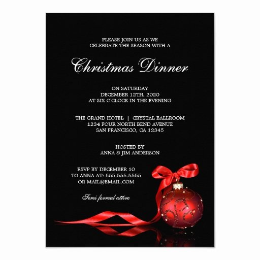 Holiday Dinner Invitation Template Elegant Elegant Christmas Dinner Party Invitation Template