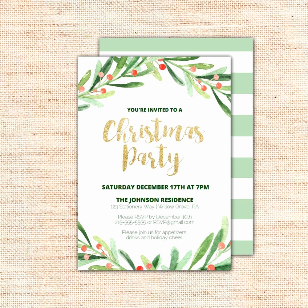 Holiday Dinner Invitation Template Elegant Holly Wreath Printable Christmas Party Invitation Template
