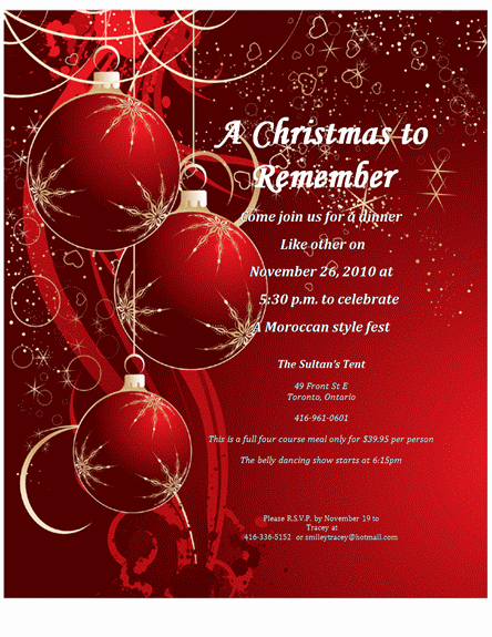 Holiday Dinner Invitation Template Fresh Christmas Invitation Templates