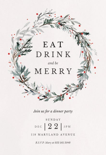 Holiday Dinner Invitation Template Fresh Christmas Party Invitation Templates Free