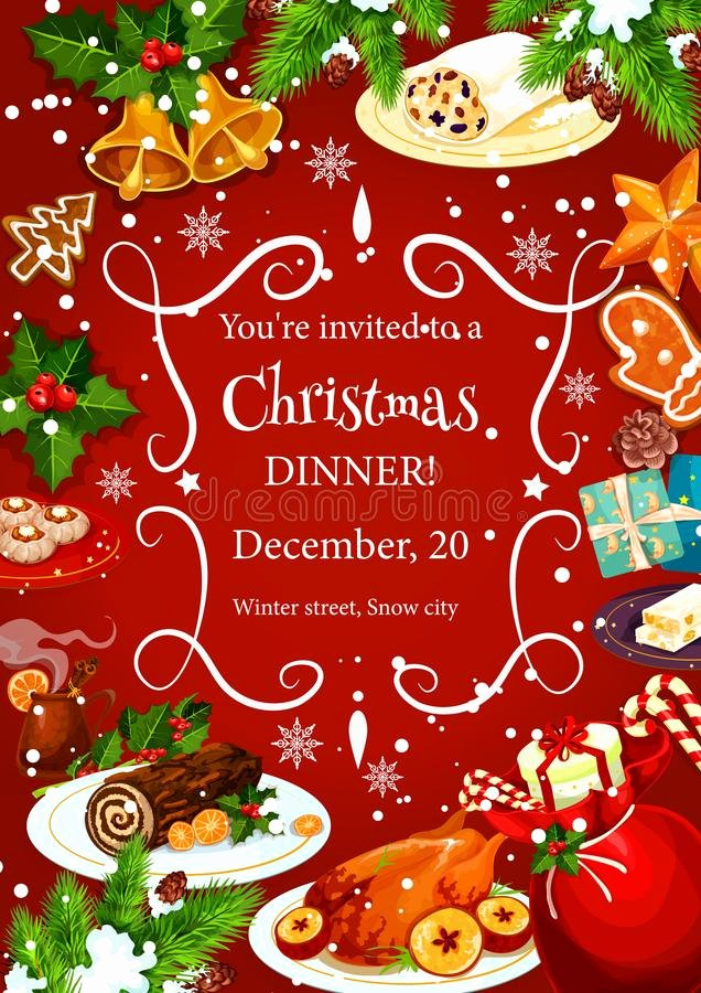 Holiday Dinner Invitation Template Inspirational Christmas Dinner Invitation with Festive Dishes Stock