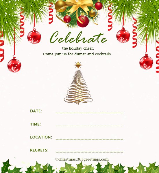 Holiday Dinner Invitation Template Lovely Christmas Invitation Template and Wording Ideas