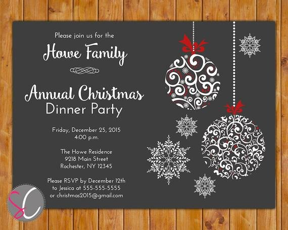 Holiday Dinner Invitation Template Unique Annual Christmas Dinner Party Invite Celebration Holiday