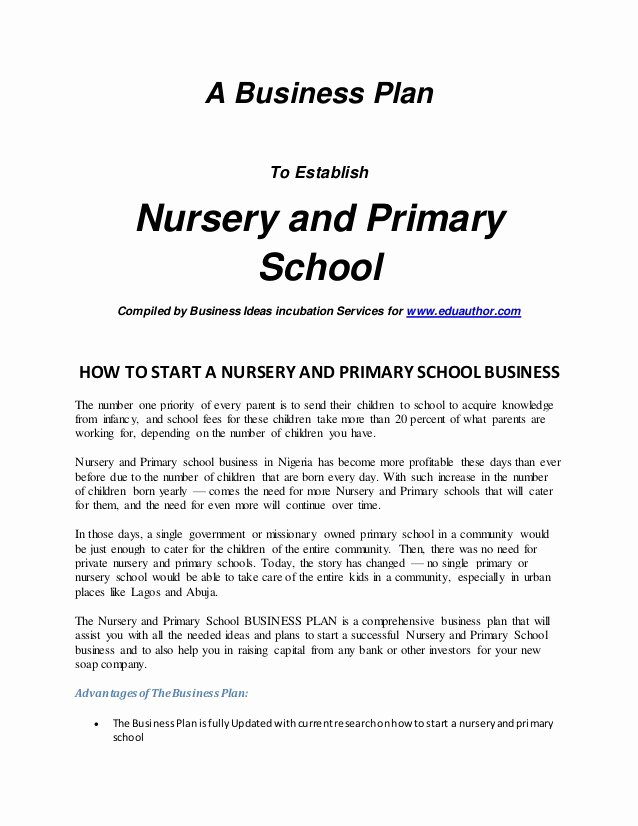 Home Daycare Business Plan Template Inspirational Intro Nursery and Primary School Business Plan