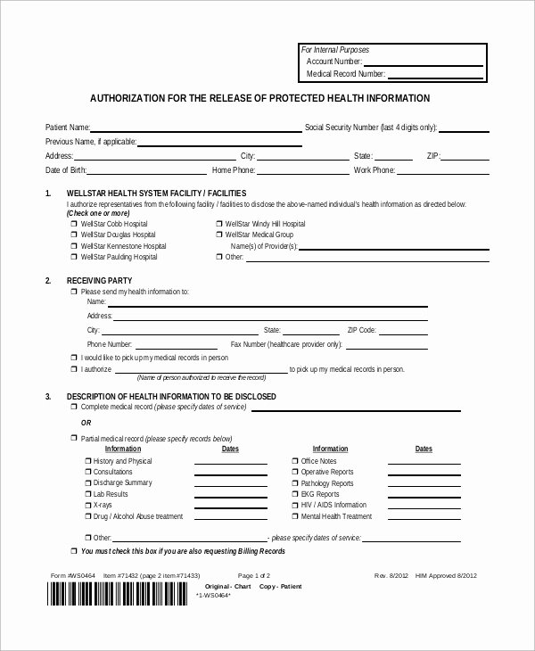 Hospital Discharge form Template Awesome Sample Medical Release form 9 Examples In Pdf