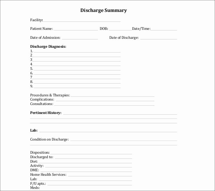 Hospital Discharge form Template Elegant 9 Discharge Summary Templates Pdf Doc