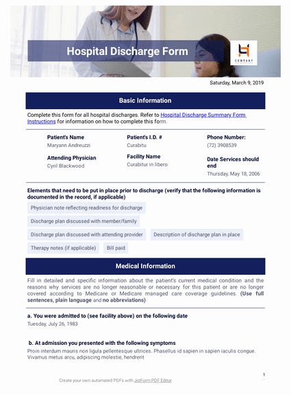 Hospital Discharge form Template New 260 Free Medical forms & Templates