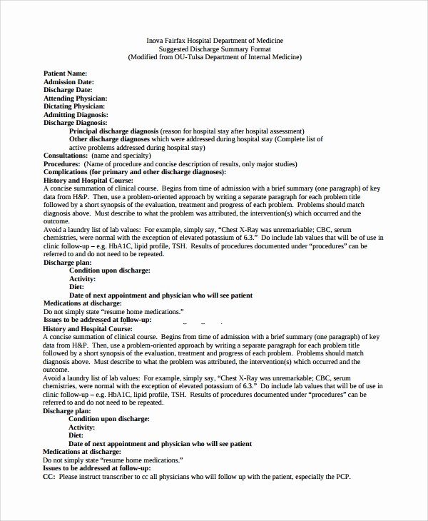 Hospital Discharge form Template Unique Sample Discharge Summary 13 Documents In Word Pdf