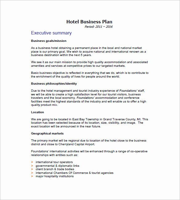 Hotel Marketing Plan Template Lovely Business Plan Template 74 Free Word Excel Pdf Psd