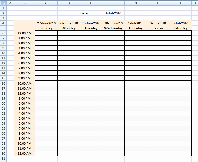 Hour by Hour Schedule Template New Hourly Schedule Template Excel Template