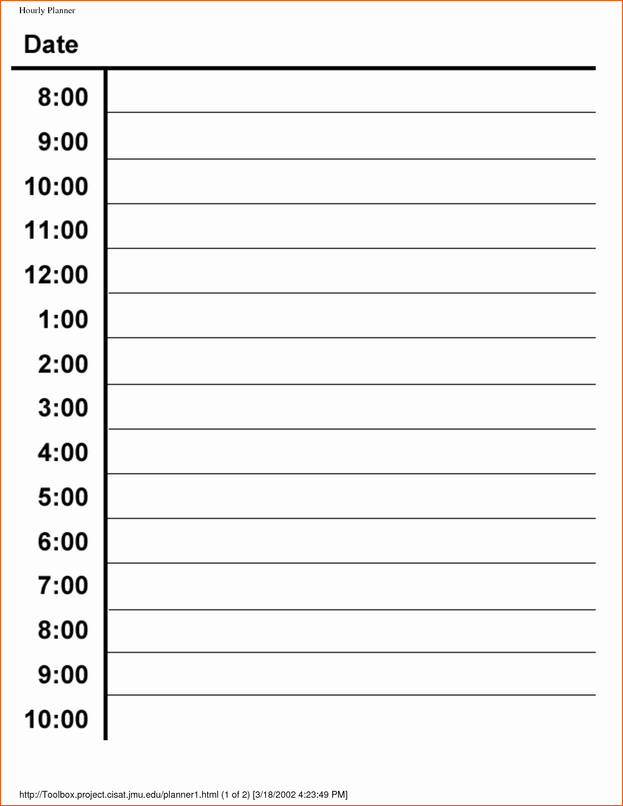 Hour by Hour Schedule Template Unique 6 Hourly Planner Template Bookletemplate