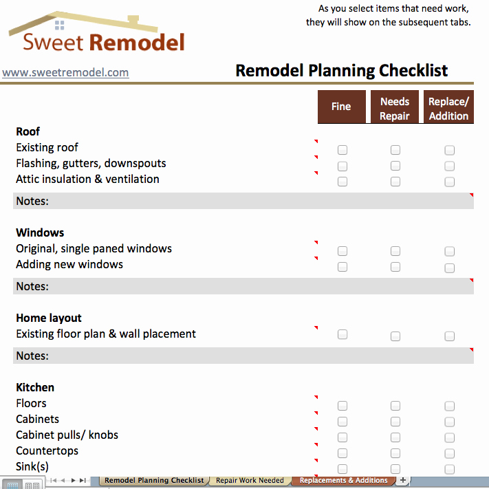 House Renovation Project Plan Template Inspirational Remodel Planning Checklist Checklist to Go Through when