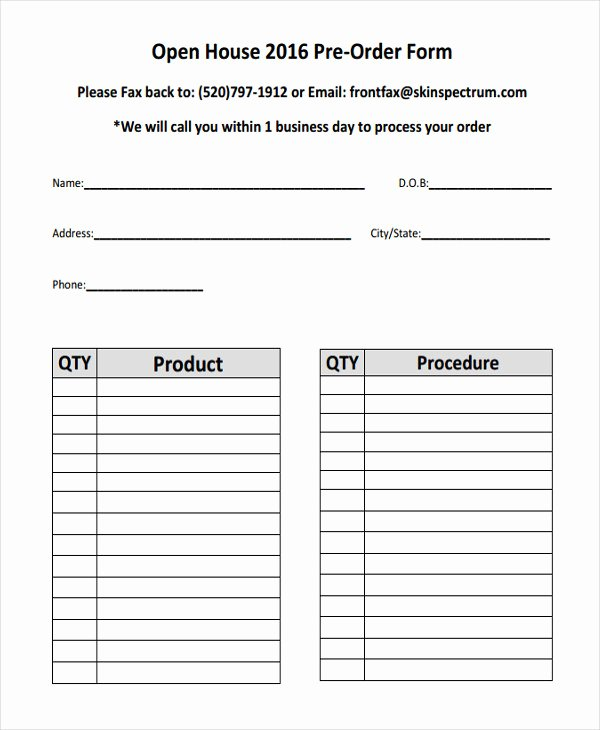 Indesign order form Template Best Of 9 Product order forms Free Samples Examples format