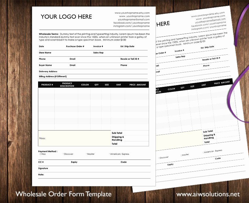 Indesign order form Template New wholesale order form Stationery Templates Creative Market