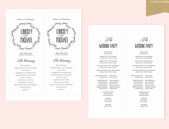 Indesign order form Template Unique 26 Wedding Ceremony Program Templates Psd Ai Indesign
