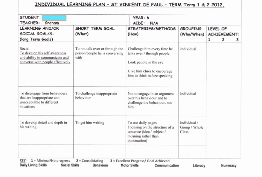Individual Education Plan Template New Individual Education Plan Template