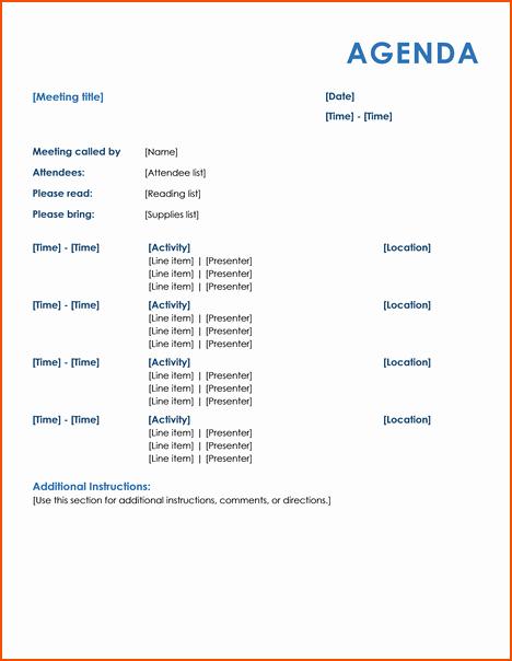 Informal Meeting Agenda Template Awesome 4 Informal Meeting Bookletemplate