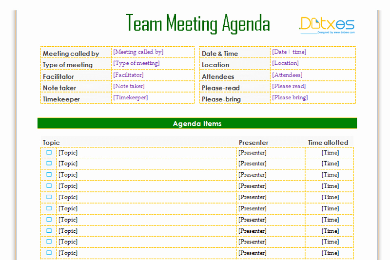 Informal Meeting Agenda Template Awesome Team Meeting Agenda Template Informal Dotxes