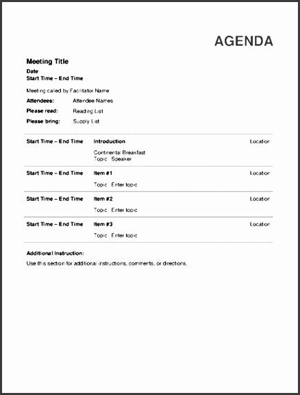 Informal Meeting Agenda Template Best Of 6 Informal Meeting Agenda Template Sampletemplatess