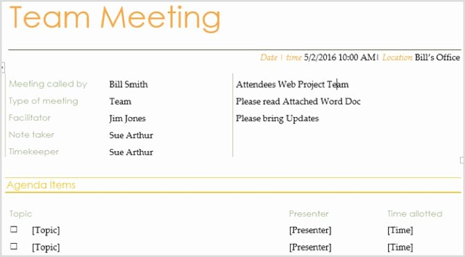 Informal Meeting Agenda Template Lovely 15 Free Meeting Agenda Templates for Microsoft Word
