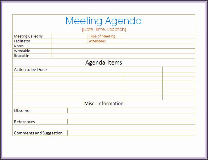 Informal Meeting Agenda Template Lovely 6 Informal Meeting Agenda Template Sampletemplatess