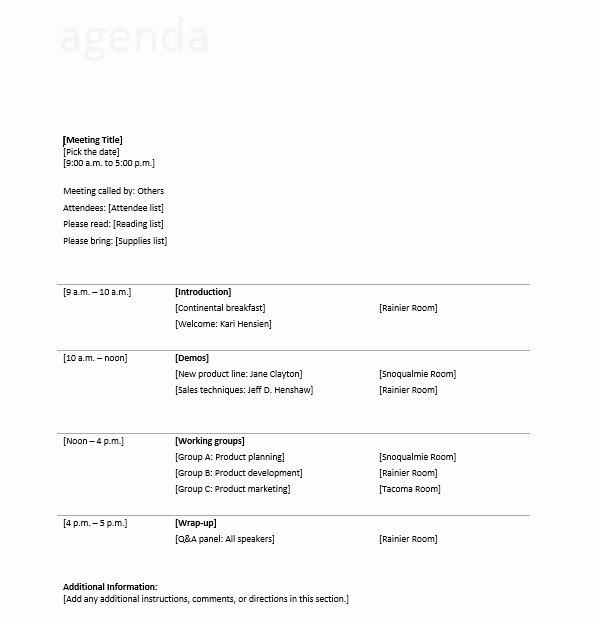 Informal Meeting Agenda Template New 10 Free Sample Informal Agenda Templates for Your Casual