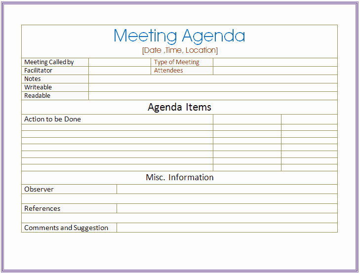 Informal Meeting Agenda Template New 6 Meeting Agenda Templates Excel Pdf formats