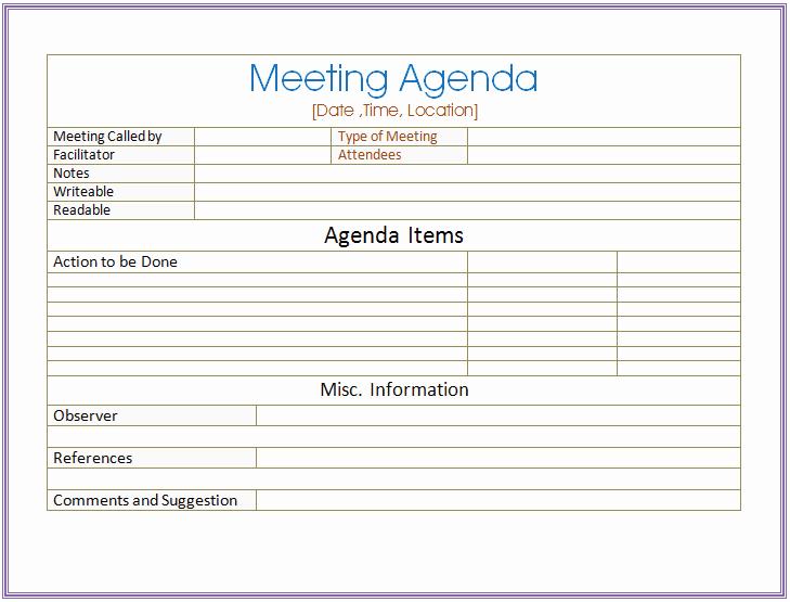 Informal Meeting Agenda Template New Basic Meeting Agenda Template formal & Informal Meetings