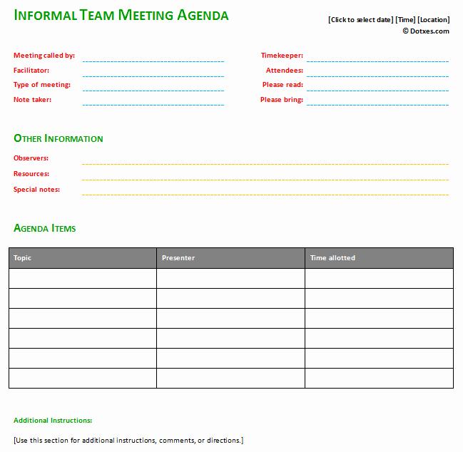 Informal Meeting Agenda Template New Informal Meeting Agenda Template Basic Dotxes