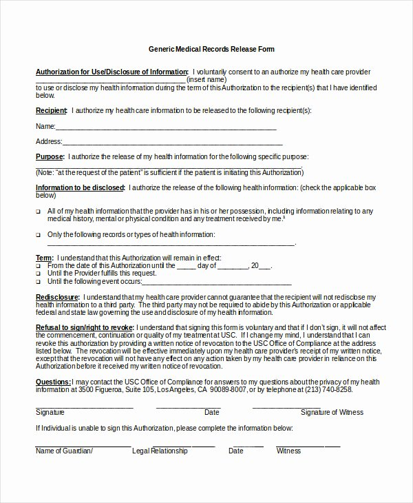 Information Release form Template Beautiful Medical Release form Template
